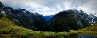 Milford Track: view to Clinton Valley from Mackinnon Pass